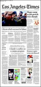 Los Angeles Times' frontpage 3-5-11