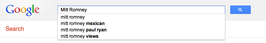 Google autocomplete results for  Mitt Romney