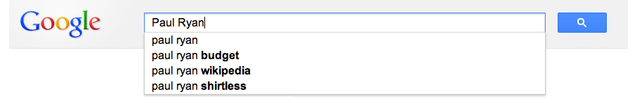 Google autocomplete results for Paul Ryan